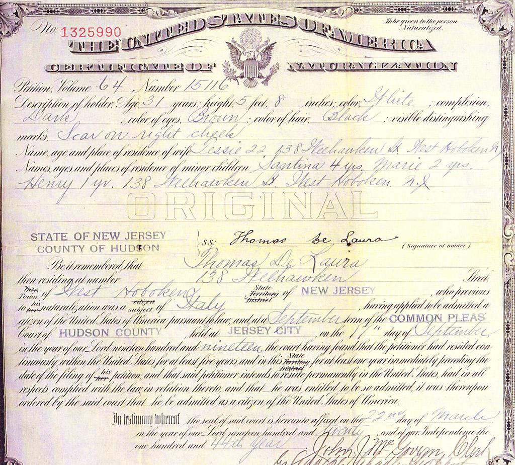 naturalization certificate