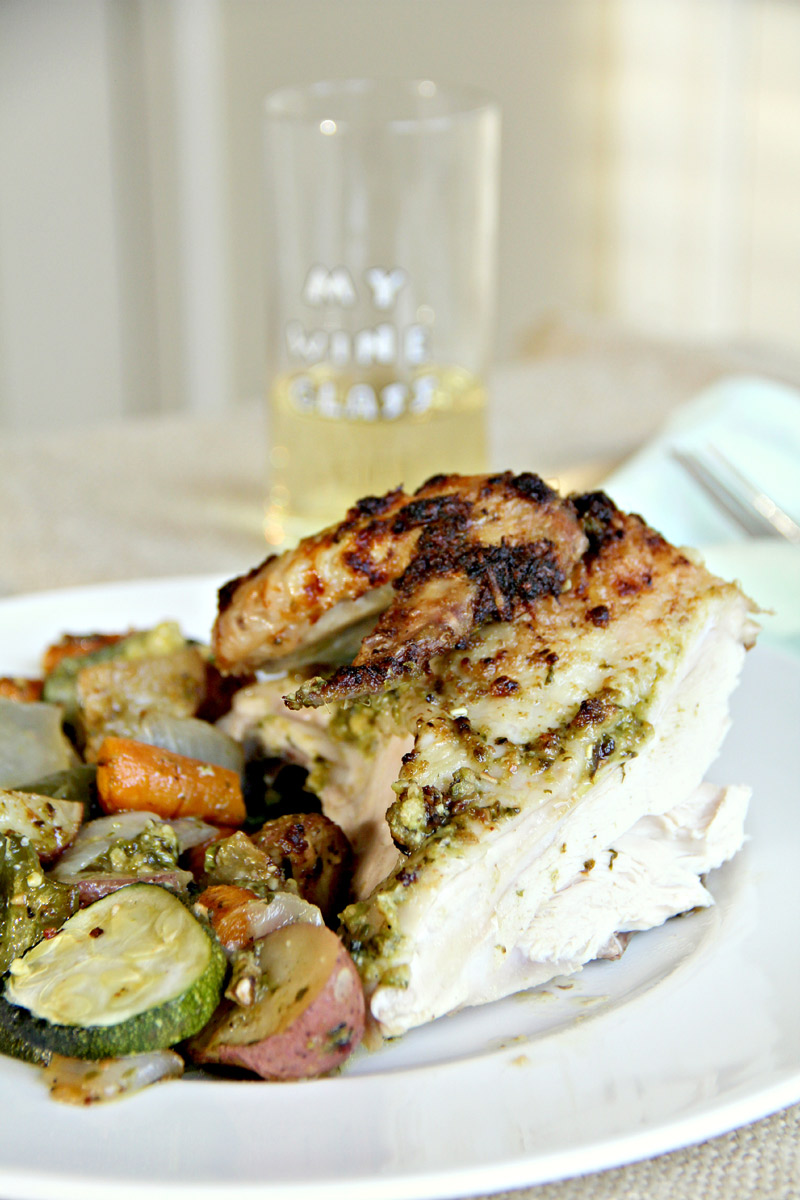 Basil Pesto Roasted Chicken on a plate