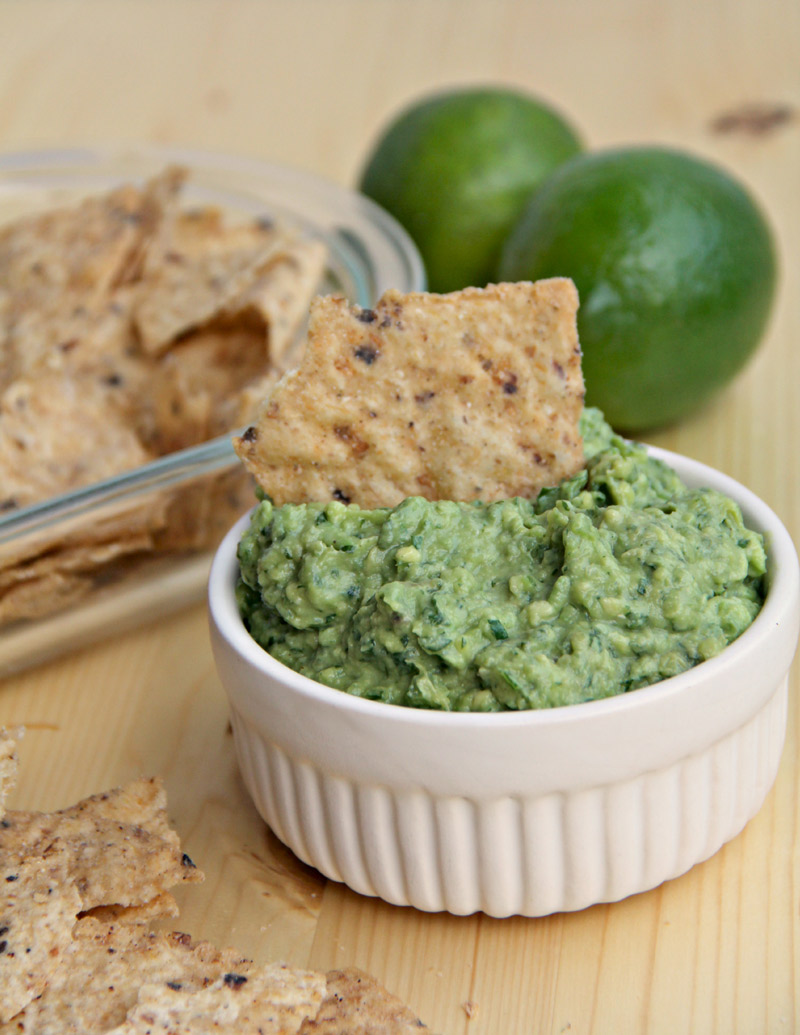 How to make homemade Guacamole--just avocado, jalapeno peppers, garlic, and lime juice.