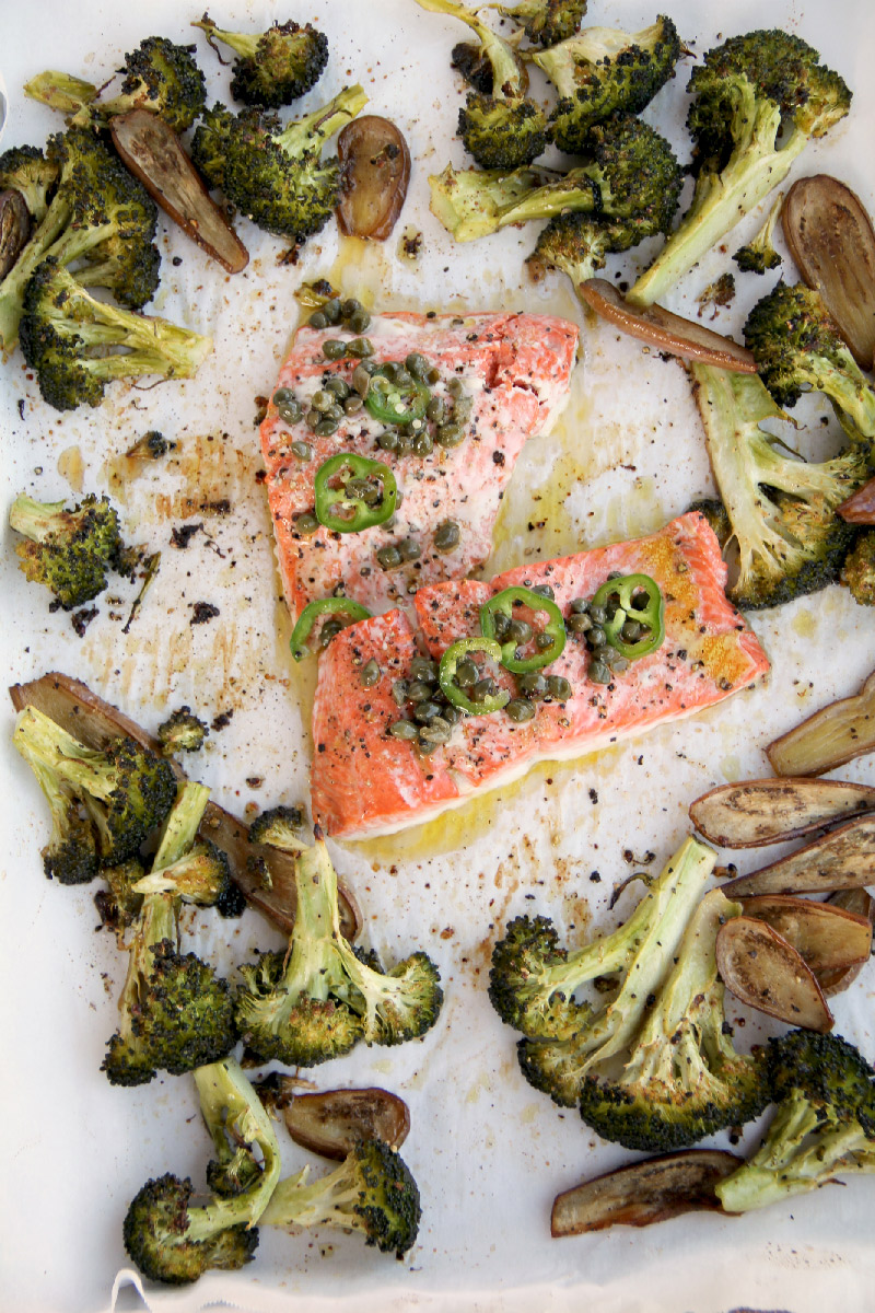 Baked Salmon with Chili Caper Vinaigrette
