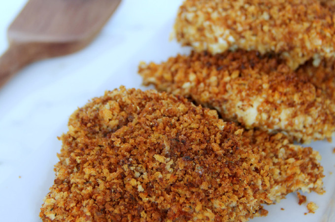 Crispy Mustard Chicken—delicious, juicy mustardy roasted chicken with a crisp Panko coating. | inasouthernkitchen.com