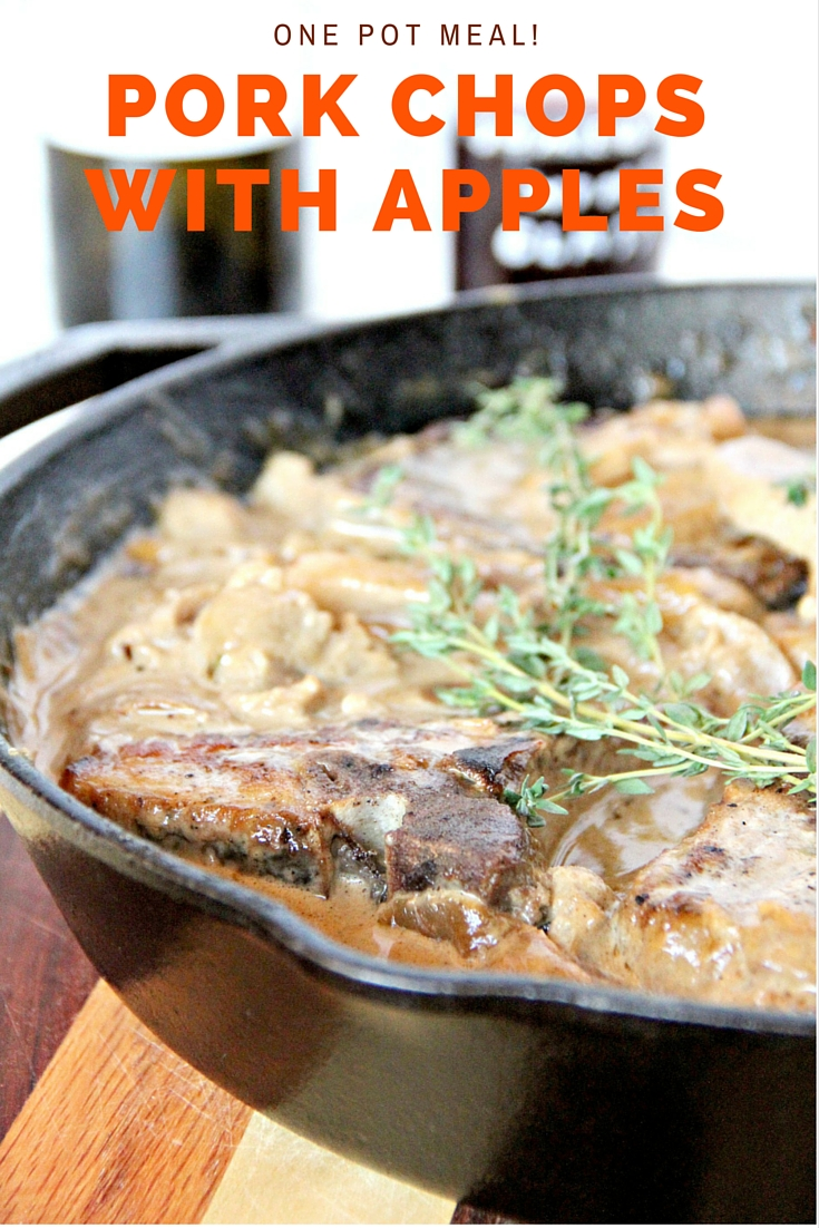 Pork Chops with Apples--a one-pot meal with pork chops, apples, sweet onions, and delicious sauce!