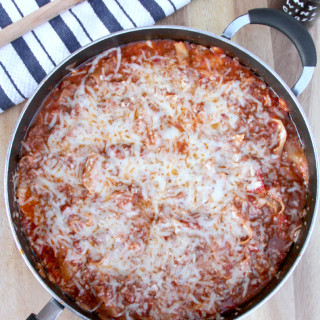 Skillet Lasagna--quick and easy with sausage and ground beef, three cheeses, and no ricotta!