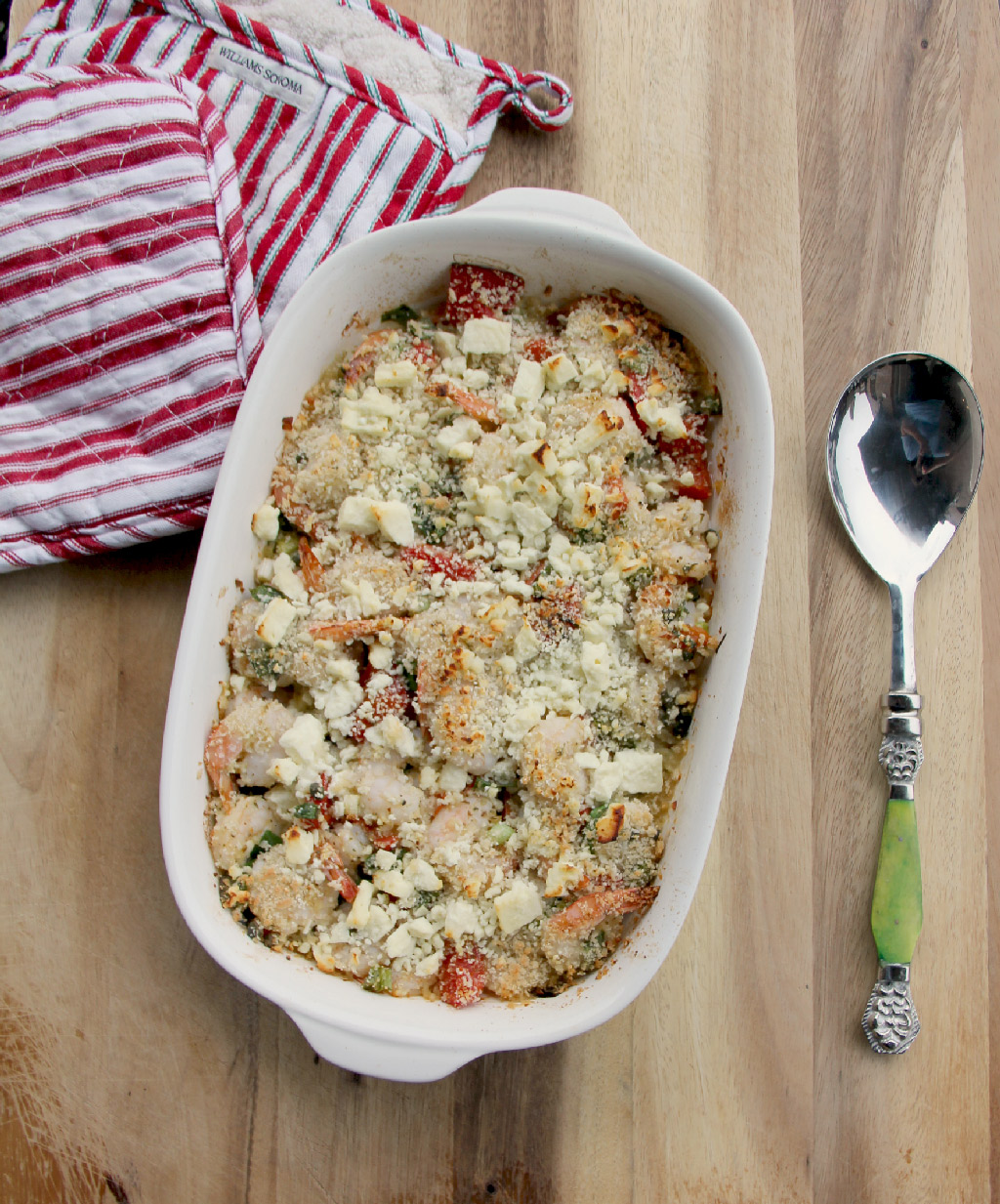 Roasted Shrimp with Red Peppers and Feta cheese is a simple, easy, delicious weeknight dinner!