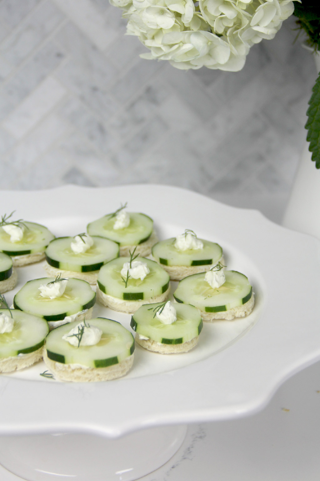 Easy cucumber tea sandwiches with cream cheese are a simple, classic appetizer!