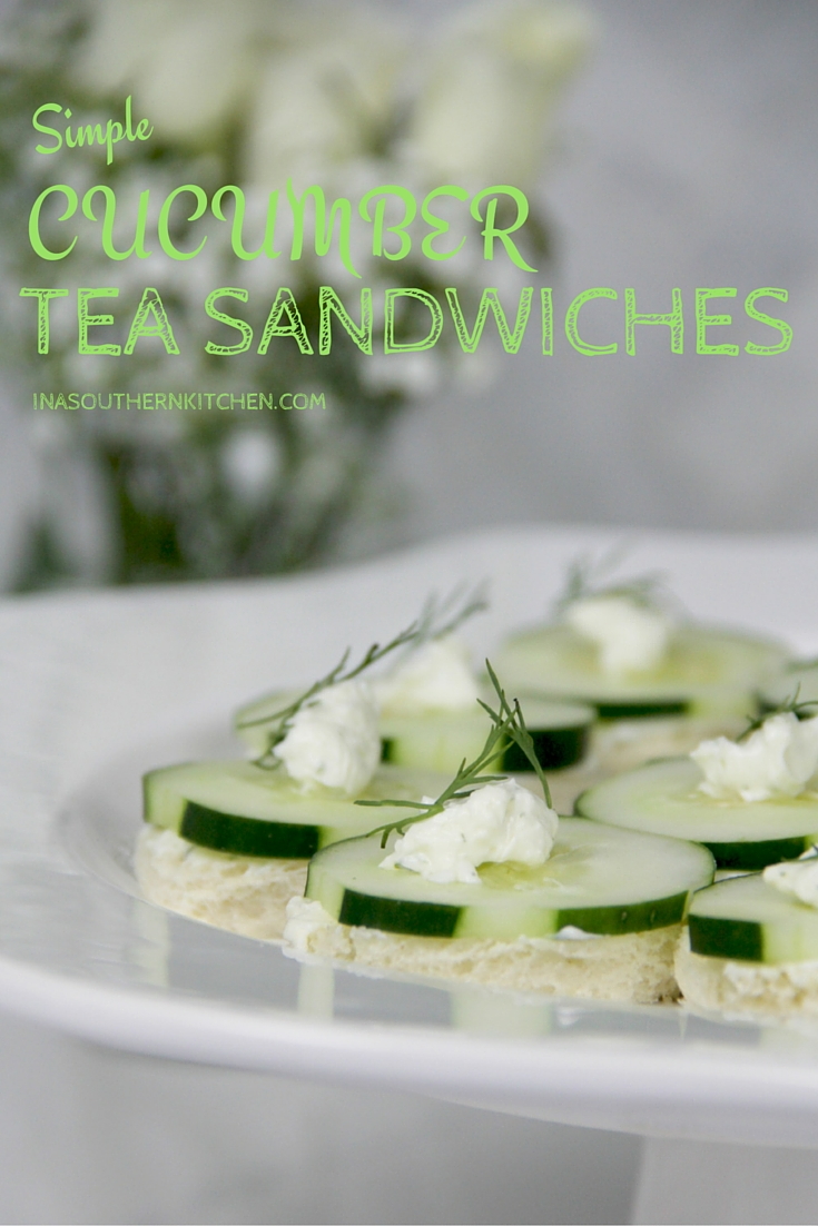 Easy Cucumber Tea Sandwiches made with cream cheese and dill--these are simple and elegant and will disappear at your next party!