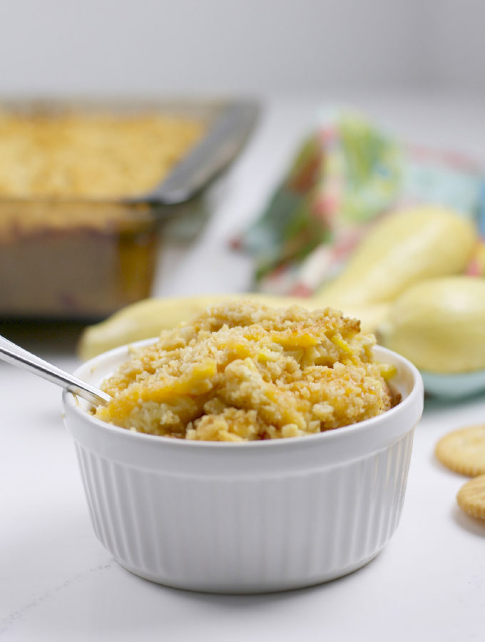 Southern squash casserole made with yellow squash, cheese, and buttery crackers is a family favorite!