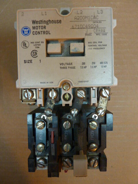 Westinghouse motor starter size 1 a200m2cac used 23030 ebay for Westinghouse motor starter parts