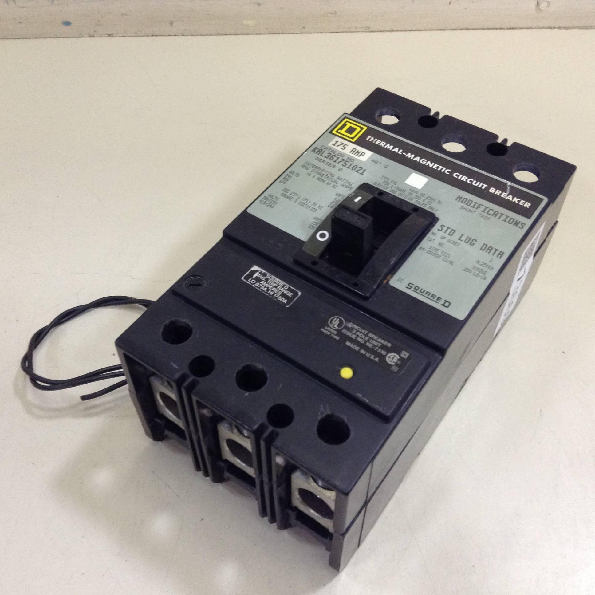 Square D 175 Amp Circuit Breaker KAL361751021 Used #73669 eBay #787341