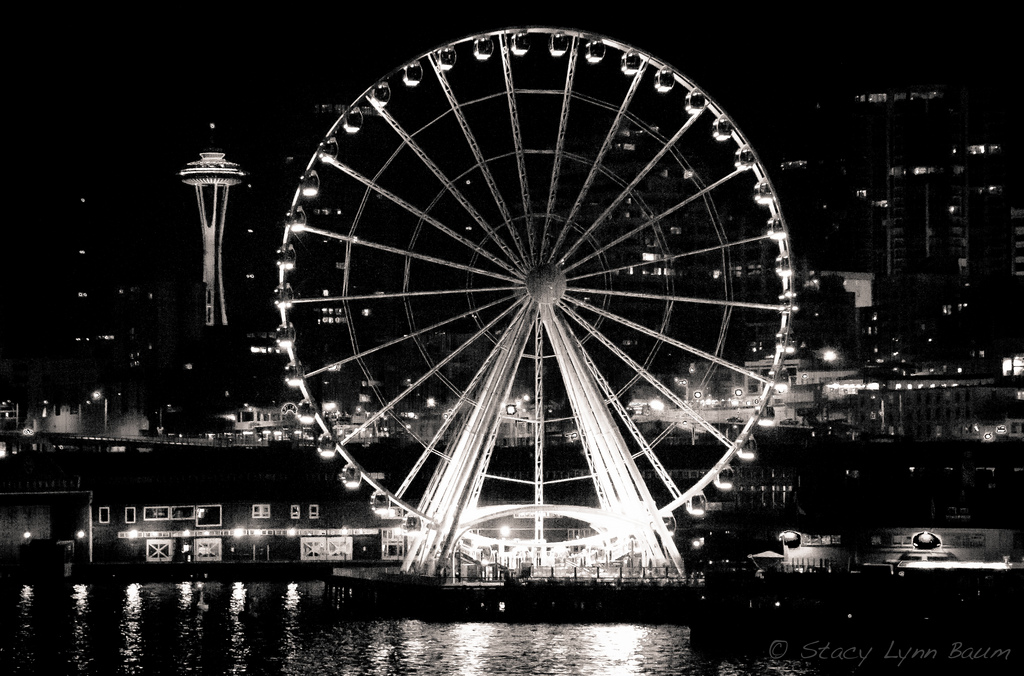 """Great Wheel and Space Needle"" by Selbe Lynn via Flickr Creative Commons"