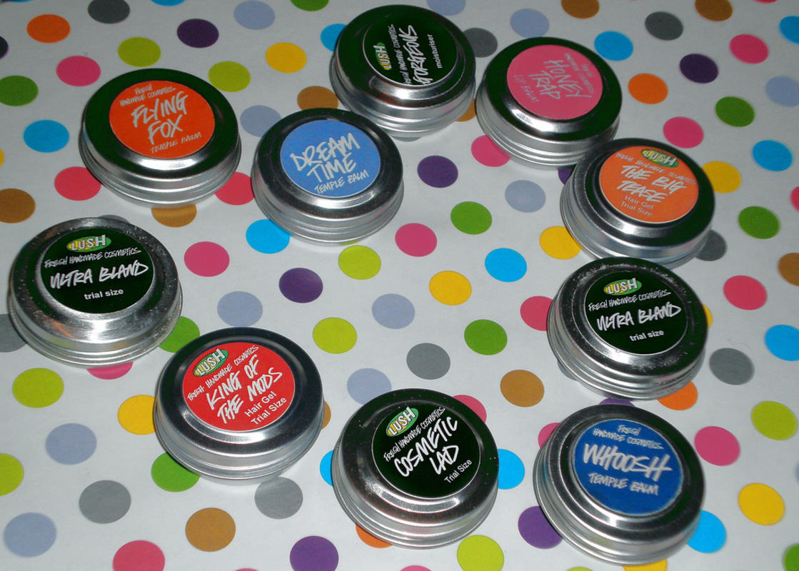 Lush Cosmetics come in handy tins that can be tossed in any bag. Photo Credit: Lindz Graham via Flickr
