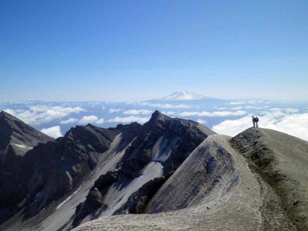 The crater rim with Mount Adams in the distance. Photo Credit: Megan Hill