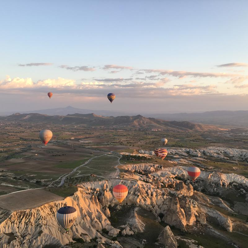 Hot air balloon rides offer the best views of the famous fairy caves in Cappadocia, Turkey. (Photo Credit: Joni Sweet)