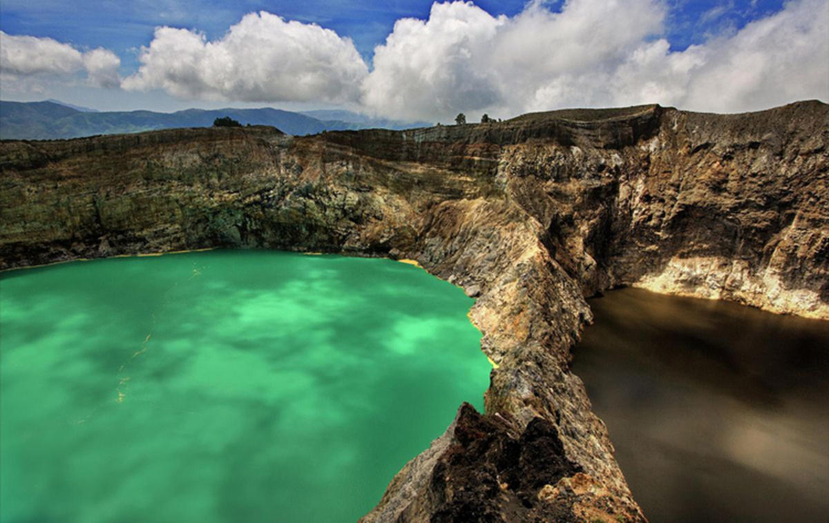 You can see lakes in three different colors from Inspiration Point on Indonesia's Mount Kelimutu. Photo Credit: Neil