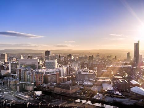 Manchester skyline   drone shot