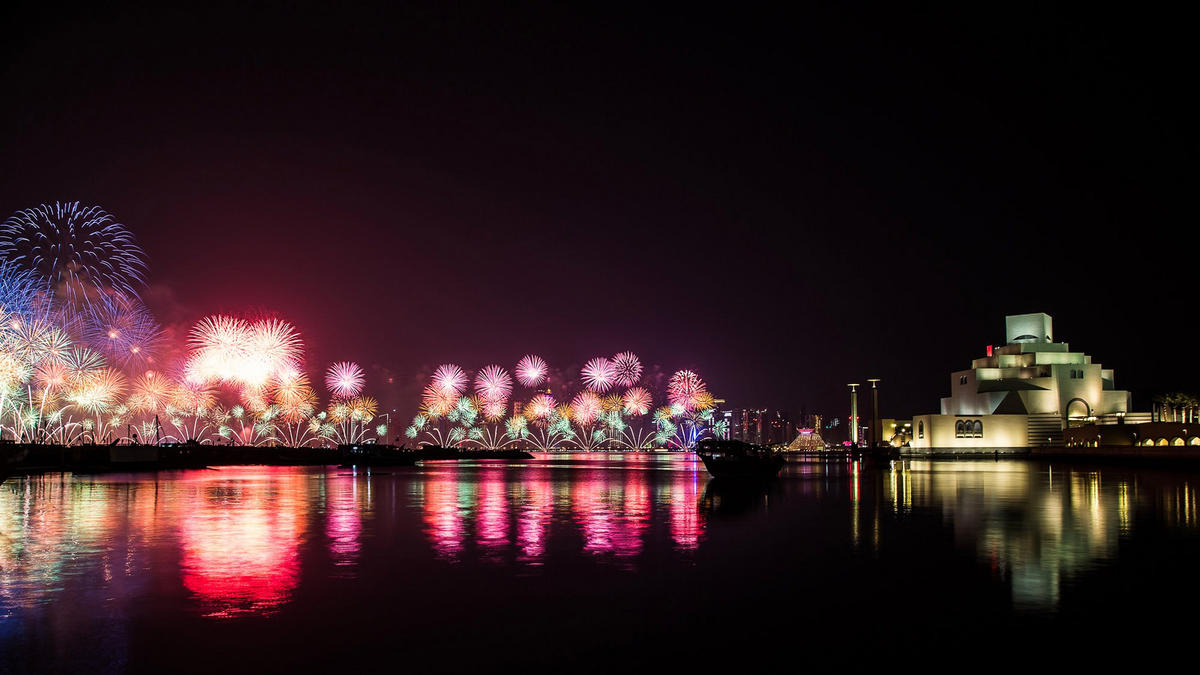 Fireworks on Qatar National Day 2015 by Manaf Kamil via Flickr Creative Commons