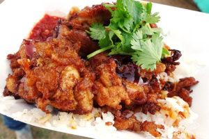 DFG Noodles number 1 seller, deep fried chicken over rice
