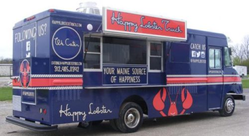 Northbrook natives Alex Robinson, Neal Bassett and Tyler Cullitan take their Happy Lobster truck to the Loop every weekday morning. -