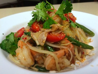 This green papaya salad uses pad Thai sauce in the dressing.  Photo from Pretty Thai.