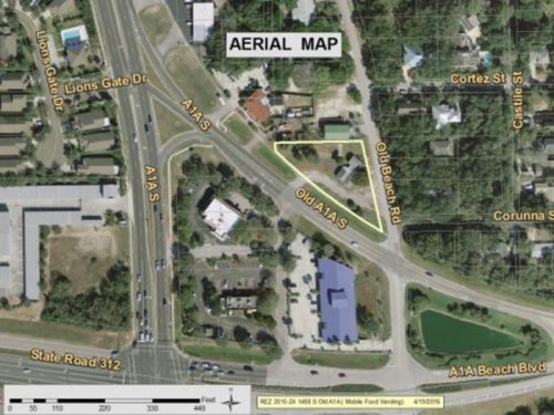 St. Johns County commissioners on Tuesday, June 7, 2016, will consider a rezoning request at 1480 Old A1A S. that would allow for the development of an open-air mobile food truck vending establishment. Brendan Schneck, owner of Big Island Bowls food truck, is requesting to rezone the 0.59-acre property from Commercial General to Commercial Intensive.