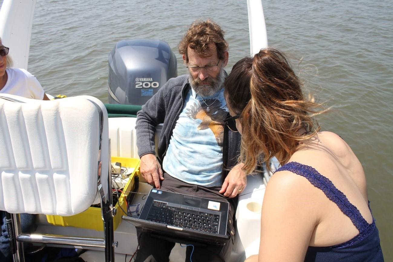 Saída de campo para a identificação e o registro dos sons dos golfinhos da Baia da Babitonga, São Francisco do Sul – SC.Fonte: Beatriz Schulze
