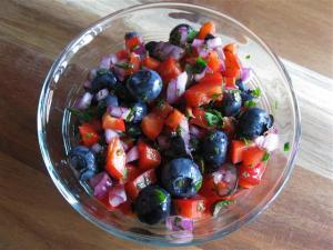 red and blueberry salsa