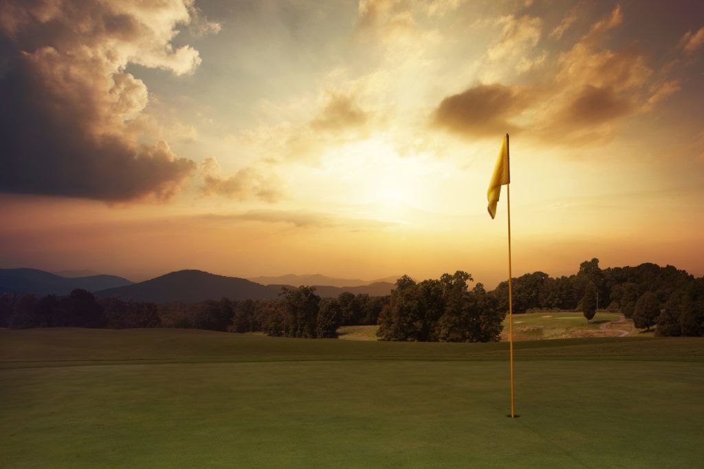 sunrise on golf green