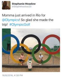 Nothing like having your mom there to cheer you on- whether it's junior golf or the Olympics!