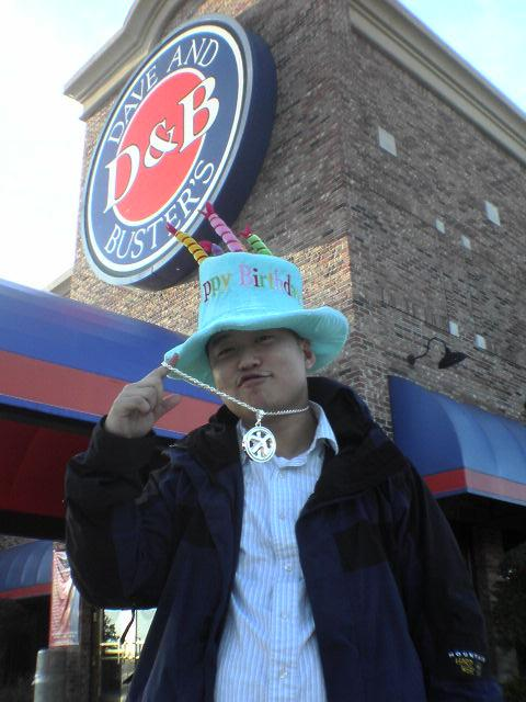 nasty nate outside of d&b after we won him some birthday swag from playing games