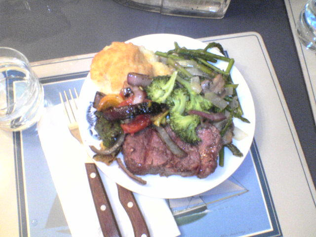 the result of cooking: potatoes, grilled veggies, stir-fried veggies, and steak.   a success!