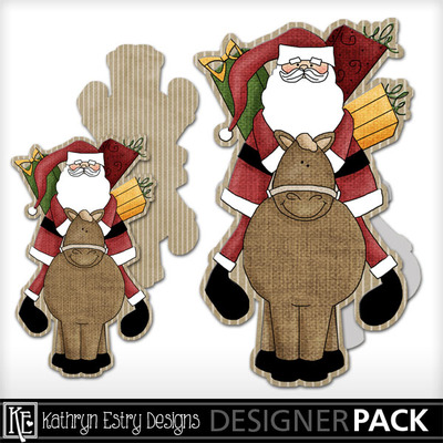 Santa-cowboy-shaped-card