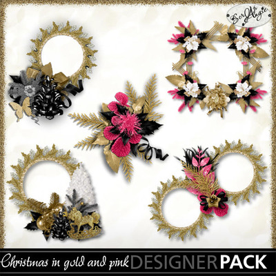 Scrapangie_christmas_in_pink_and_gold_clusters_pv