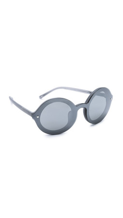 3.1 Phillip Lim Frosted Round Sunglasses - Frosted Grey/Smoke Mirror