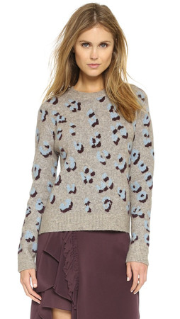 3.1 Phillip Lim Leopard Pullover - Oatmeal/Blue