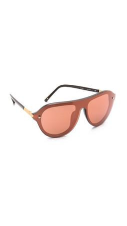 3.1 Phillip Lim Oversized Mirrored Sunglasses - Army Bronze/Copper Mirror
