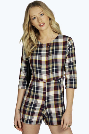 3/4 Sleeve Brushed Check Playsuit multi