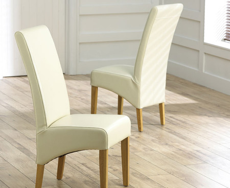 4x Cannes Cream Leather Dining Chairs