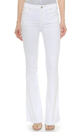 7 For All Mankind High Waisted Vintage Flared Jeans - Runway White