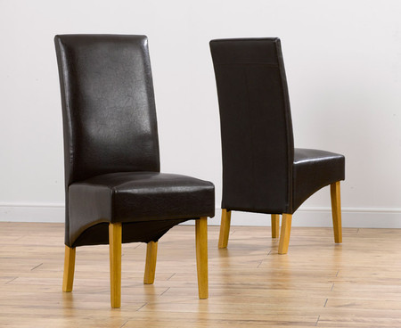 8x Venezia Black Faux Leather Dining Chairs