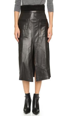 A.L.C. Silva Leather Skirt - Black