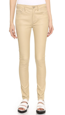 Acne Studios Close Leather Pants - Linen Beige