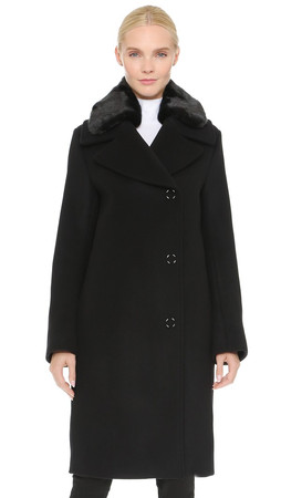 Acne Studios Era Coat With Removable Collar - Black