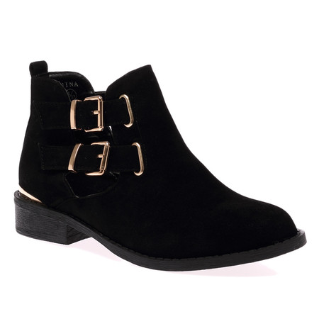 Adalyn Black Faux Suede Ankle Boots