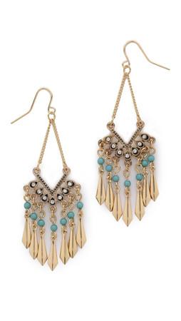 Adia Kibur Jasmine Earrings - Aqua/Gold