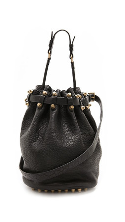 Alexander Wang Diego Bucket Bag With Antiqued Gold Hardware - Black