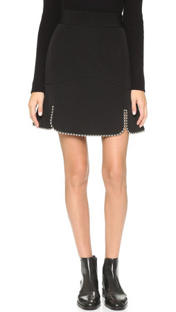 Alexander Wang Flare Skirt With Ball Chain Outline - Nocturnal