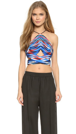 Alexander Wang Pleated Halter Crop Top - Airforce Woven