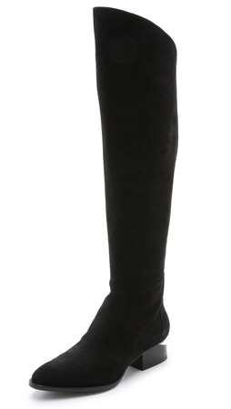 Alexander Wang Sigrid Tall Suede Boots - Black/Rhodium