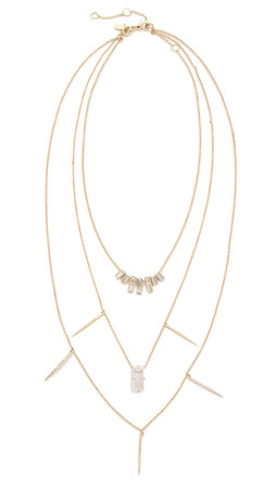 Alexis Bittar Crystal Matrix Layered Necklace - Gold Multi