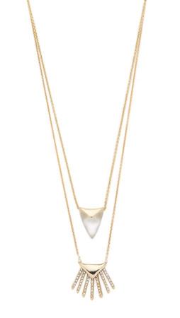 Alexis Bittar Double Fringe Pendant Necklace - Silver/Gold